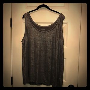 Eileen Fisher 1X silver sparkle linen tank top